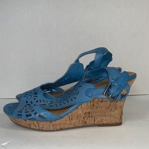 Coach and four wedges Sz 8.5 blue cork open toe